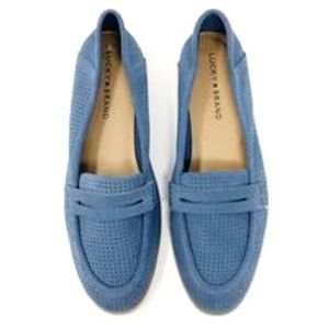 ■Lucky Brand■ (9) Blue Suede Perforated Loafers